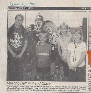 HP _ O Half Pint _ Oscar at ECRL Library in Star Weekly newspaper 6-14-2003