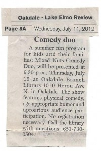 Mixed Nuts blurb in Oakdale Review 7-11-2012